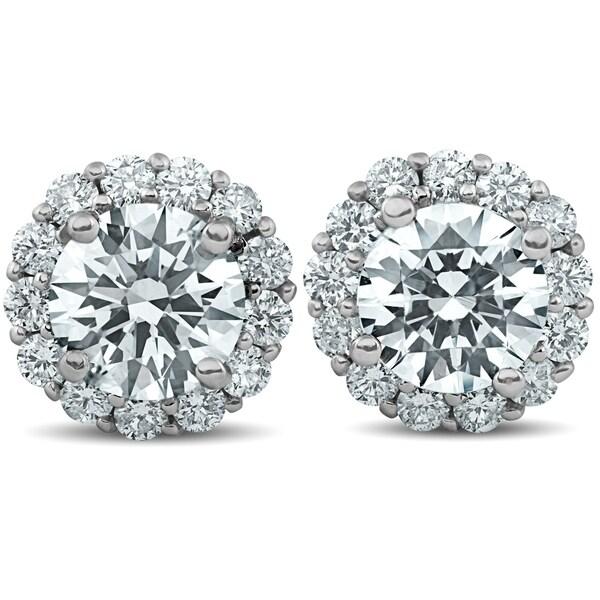 3b55ccf6d88ab Shop Bliss 14k White Gold 2 1/5 ct TDW Halo Diamond Studs Clarity ...