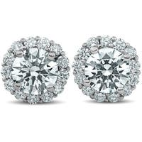 Bliss 14k White Gold 2 1/5 ct TDW Halo Diamond Studs Clarity Enhanced 14k White Gold