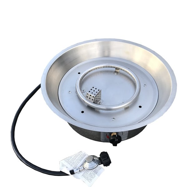 Round Fire Pit Burner with Pan Stainless Steel - Silver