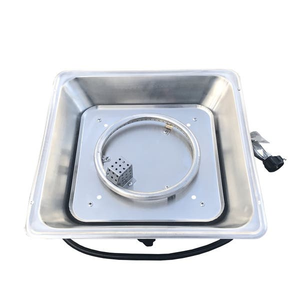 Square Fire Pit Burner with Pan Stainless Steel - Silver