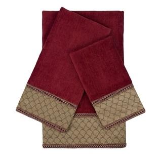 Sherry Kline Luxuriant Red 3-piece Embellished Towel Set - 13 x 18 x 0.5/16 x 25 x 0.5/25 x 48 x 0.5