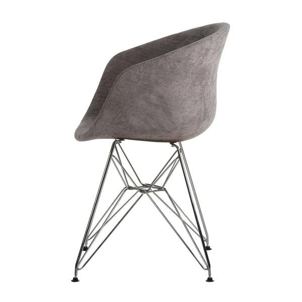 Terrific Shop Danish Modern Upholstered Side Chair With Metal Eiffel Machost Co Dining Chair Design Ideas Machostcouk
