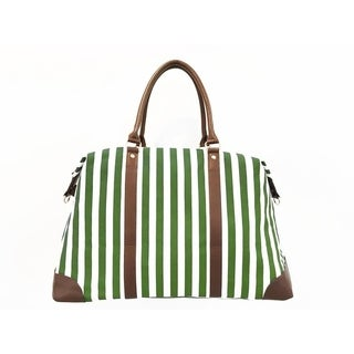 Alchemy Accessories Classic Spring Green Striped Duffle Travel Bag