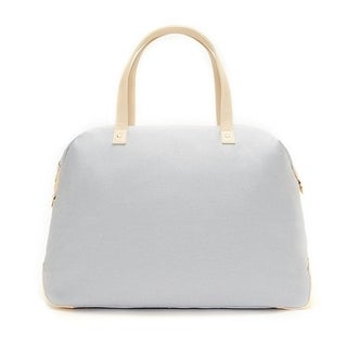 Alchemy Accessories Eggshell White Eco-Canvas Color Block Travel Fashion Duffle Bag