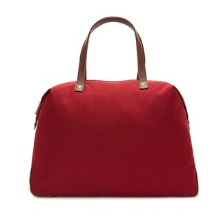 Alchemy Accessories Burgundy Red Eco-Canvas Color Block Travel Fashion Duffle Bag