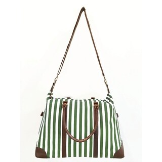Alchemy Accessories Classic Green Striped Duffle Travel Bag