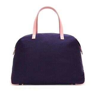 Alchemy Accessories Violet-Purple Eco-Canvas Color Block Travel Fashion Duffle Bag