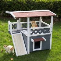 Kinbor Wooden Cat House Indoor & Outdoor Kitten Condo Shelter w/ Roof, Stair & Escape Door