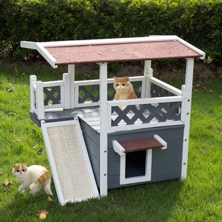 Kinbor Wooden Pet House Cat House Indoor & Outdoor Kitten Condo Shelter w/ Roof, Stair & Escape Door