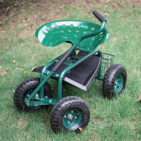 Kinbor Rolling Garden Cart Wagon Scooter w/ Steer Handle, Tool Tray & Basket