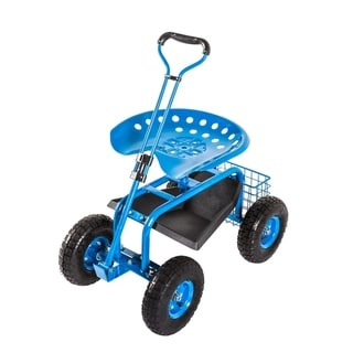 Kinbor Rolling Garden Cart Scooter for Planting w/ Tool Tray & Basket
