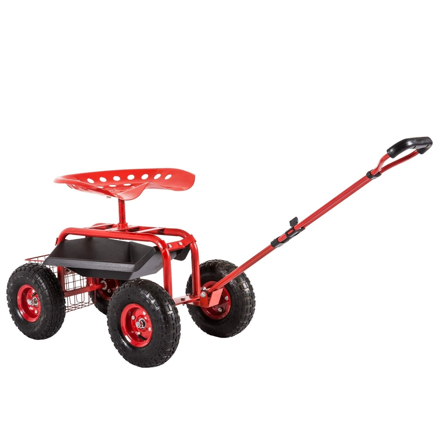 Kinbor Rolling Garden Cart Scooter for Planting w/ Tool Tray