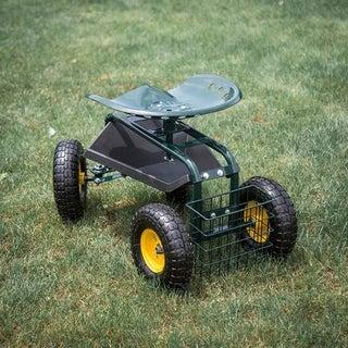 Kinbor Garden Cart Rolling Work Seat with Tool Tray Heavy Duty Gardening Planting