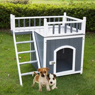 Kinbor Wooden Puppy Dog House Indoor & Outdoor Pet Balcony Bed Shelter w/ Stair