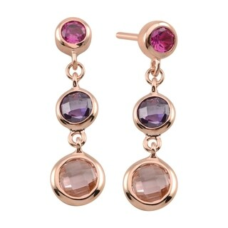 Sterling Silver Rose Gold Plated Graduated Cubic Zirconia Dangling Earrings