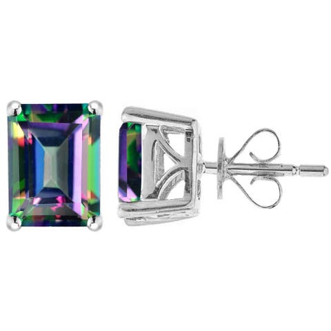 Sterling Silver with Mystic Topaz Emerald Cut Stud Earring