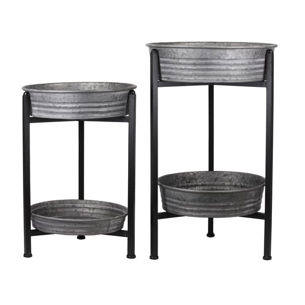 Urban Trends Metal Round Removable Wash Basin Layered Table in Galvanized Finish, Gray - Set of 2