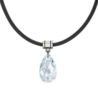 Handmade Jewelry by Dawn Light Blue Aurora Borealis Crystal Teardrop Leather Cord Necklace (USA)