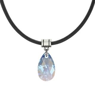 Handmade Jewelry by Dawn Sapphire Blue Aurora Borealis Crystal Teardrop Leather Cord Necklace (USA)