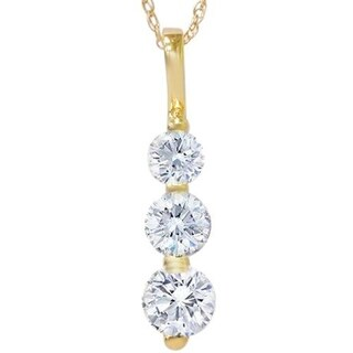 "Bliss 14k Yellow Gold 1 ct TDW Three Stone Round White Diamond Graduated Pendant Womens Necklace 18"" Chain"