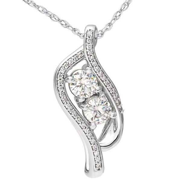 """14k White Gold Over 1.50Ct Round Diamonds Station By the Yard 19/"""" Chain Necklace"""