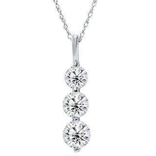 Pompeii3 14k White Gold 1 Ct TDW Three Stone Round Diamond Graduated Pendant Womens Necklace 18 Chain