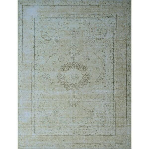 """Noori Rug Fine Vintage Distressed Jewel Beige/Brown Rug - 9'6"""" x 12'11"""""""