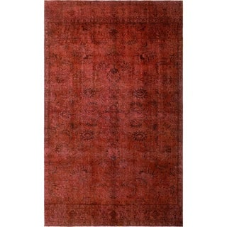 "Noori Rug Distressed Overdyed Asfour Red/Brown Rug - 7'7"" x 13'2"""