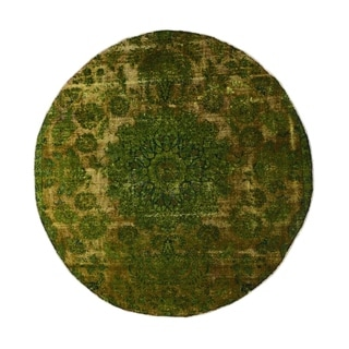 "Noori Rug Distressed Overdyed Jayde Green/Brown Rug - 6'11"" x 6'11"""