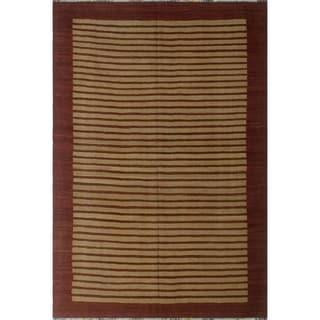 "Noori Rug Winchester Kilim Ketifa Brown/Burgundy Rug - 6'2"" x 9'4"""