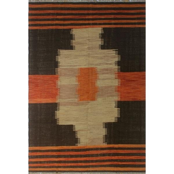 "Noori Rug Winchester Kilim Bibsbebe Brown/Orange Rug - 6'3"" x 9'7"""