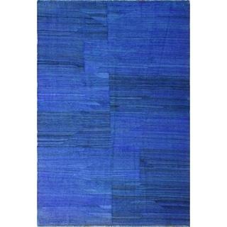 "Noori Rug Overdyed Kilim Aspen Blue/Black Rug - 5'0"" x 7'2"""