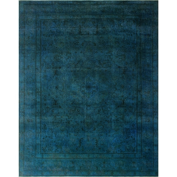 "Noori Rug Distressed Overdyed Ayska Blue/Green Rug - 10'2"" x 12'8"""