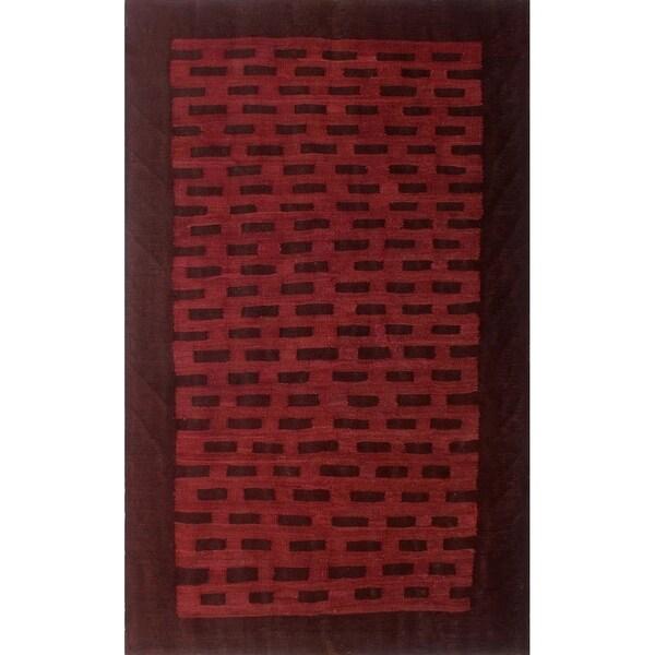 """Noori Rug Overdyed Kilim Tarif Red/Burgundy Rug - 3'3"""" x 5'3"""""""