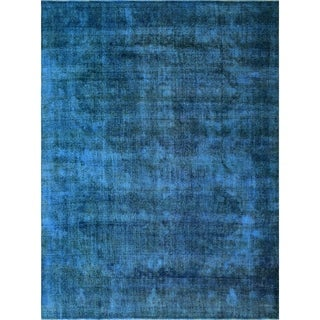 Noori Rug Rayna Blue and Brown Distressed Overdyed Rug - 9'6 x 12'9