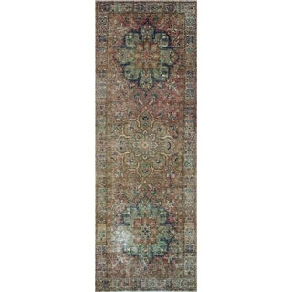 "Noori Rug Semi-Antique Distressed Emberly Brown/Beige Runner - 4'5"" x 12'4"""