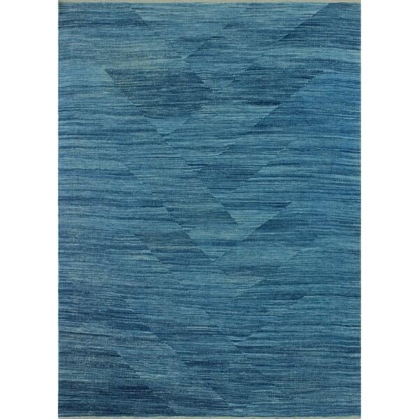"""Noori Rug Winchester Kilim Jamael Blue Rug - 4'3"""" x 6'2"""""""
