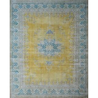 """Noori Rug Fine Vintage Distressed Ayleen Gold/Blue Rug - 9'8"""" x 12'6"""""""