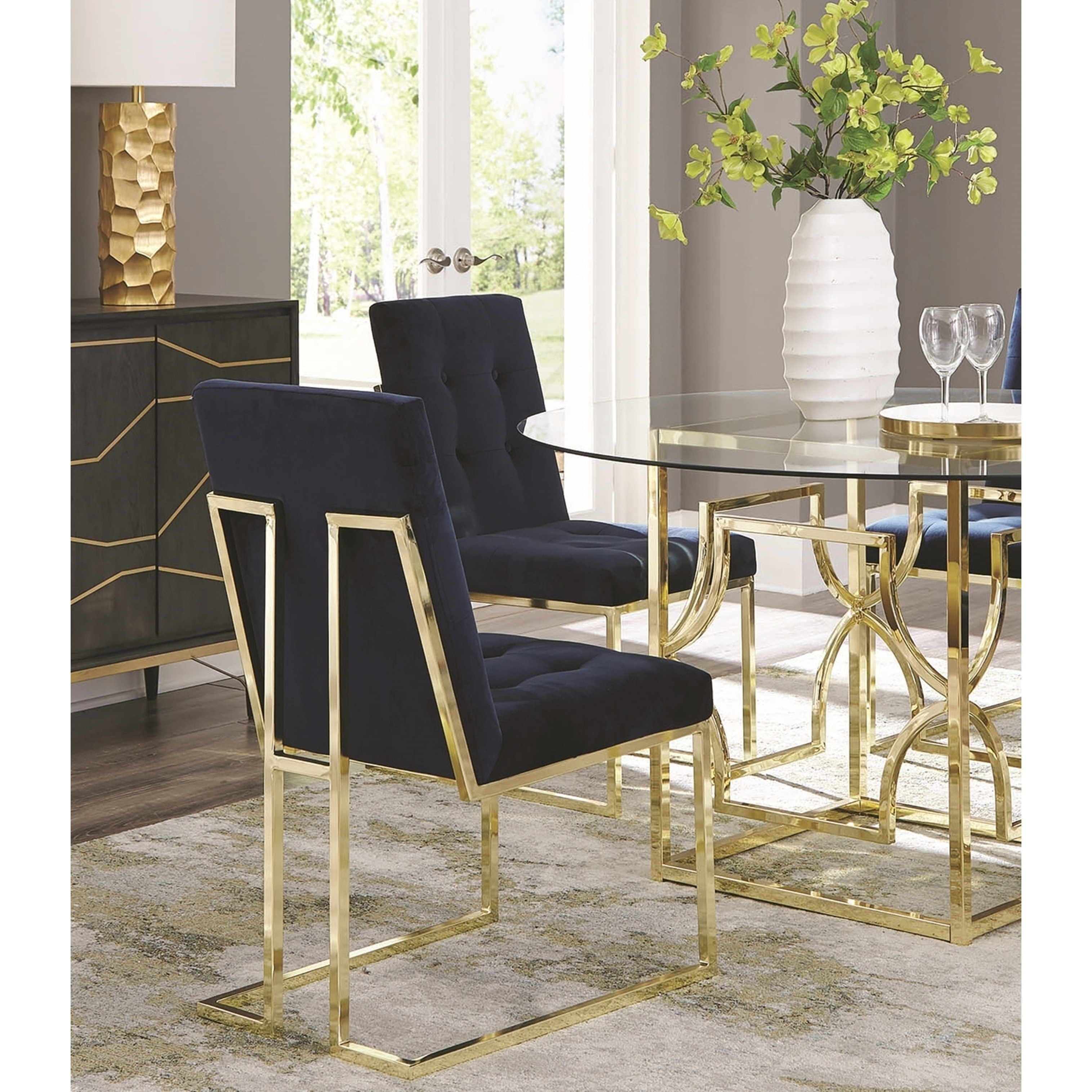 Modern Brass Artistic Floating Design Tufted Dark Blue Dining Chairs Set Of 2