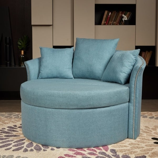 Lokatse Indoor Accent Upholstery Circular Round Shape Loveseat With Cushions And Pillows