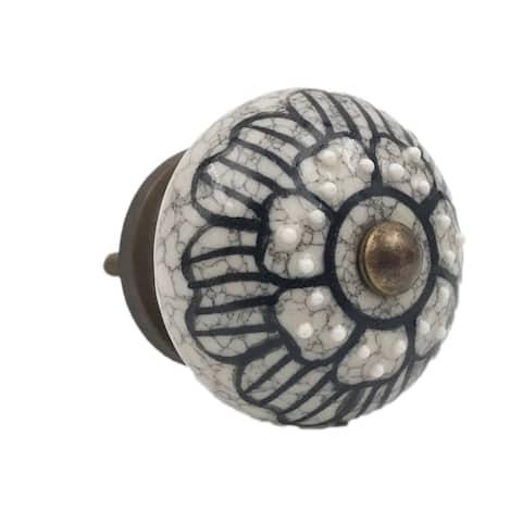 Gray Ceramic Floral Black Design Knobs - Set of 6
