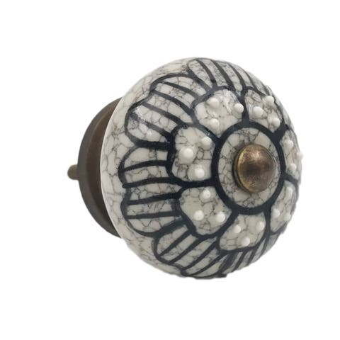 Gray Ceramic Floral Black Design Knobs - Set of 6