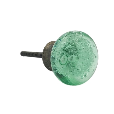Green Bubbles Glass Knob, Black Metal Base - Set of 6