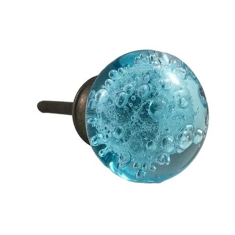 Aqua Blue Bubbles Glass Knob, Black Metal Base - Set of 6