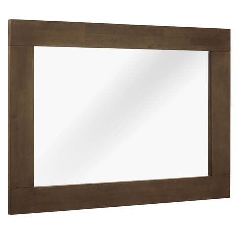 Everly Wood Frame Mirror - walnut
