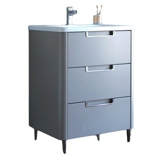 Eviva Marbella Grey Wood/Acrylic 26-inch Bathroom Vanity
