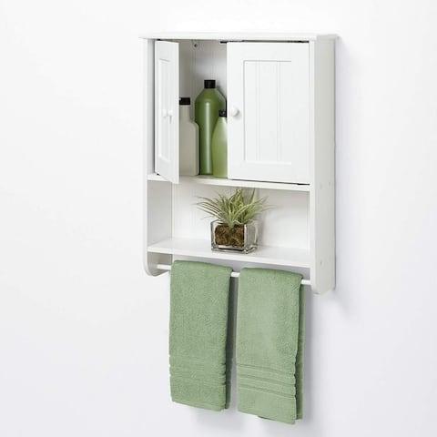 Home Elegant Bathroom Medicine Storage Mounted 2-Door Wall Cabinet