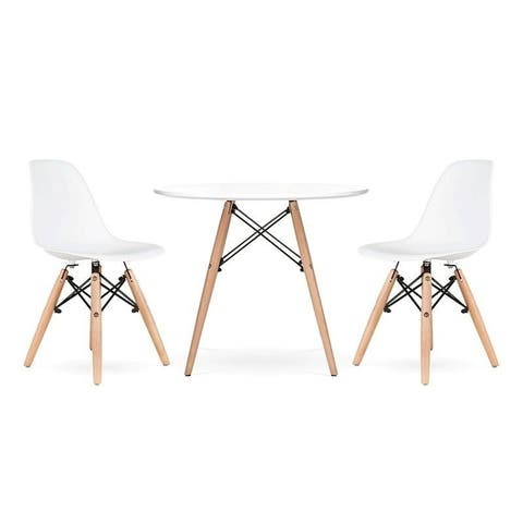 HCD Kids Eiffel Set of 2 Eiffel Chairs with light wood base, White with Effiel Chair