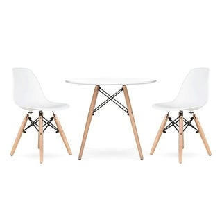 Kids Eiffel Set of 2 Eiffel Chairs White Ash Base, 2 Chairs White for Children with Light Wood Base