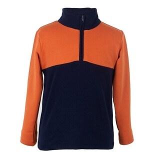 Boys Polo Shirts Long Sleeve Navy and Orange
